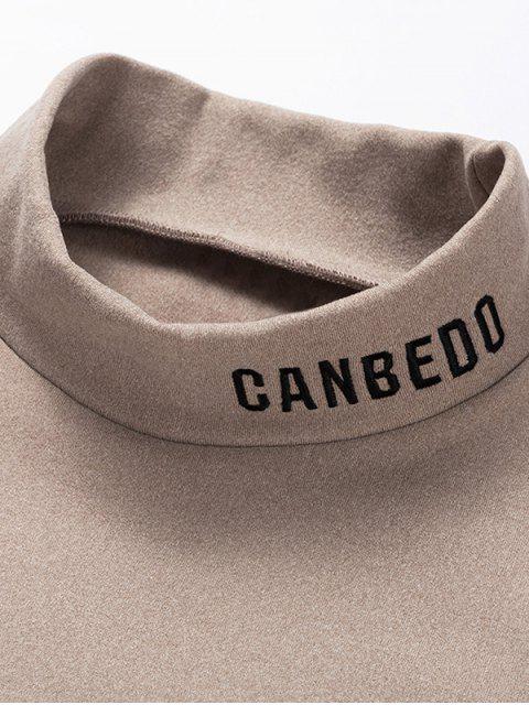 Patrón de la letra mangas camiseta ocasional - Caqui S Mobile