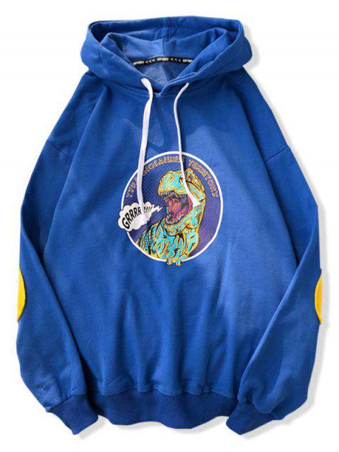 Dinosaurio de dibujos animados de impresión con capucha con cordón - Azul de Arándanos M Mobile