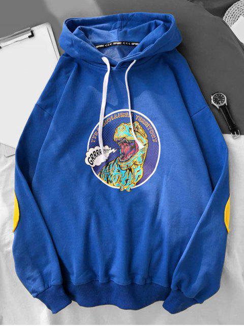 Dinosaurio de dibujos animados de impresión con capucha con cordón - Azul de Arándanos XL Mobile