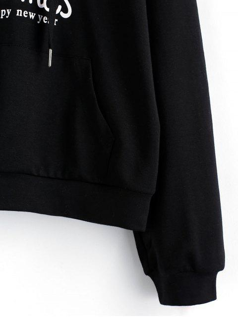 ZAFUL Navidad gota gráfico hombro con capucha del bolsillo delantero - Negro S Mobile