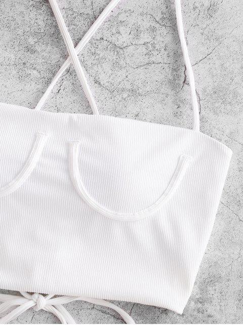 ZAFUL acanalado ata para arriba el Cami superior del bikini - Blanco XL Mobile