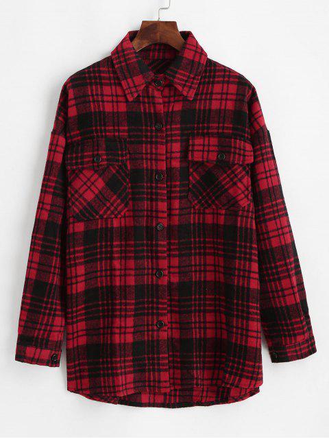 buy Flap Pockets Button Down Plaid Shirt - BLACK S Mobile