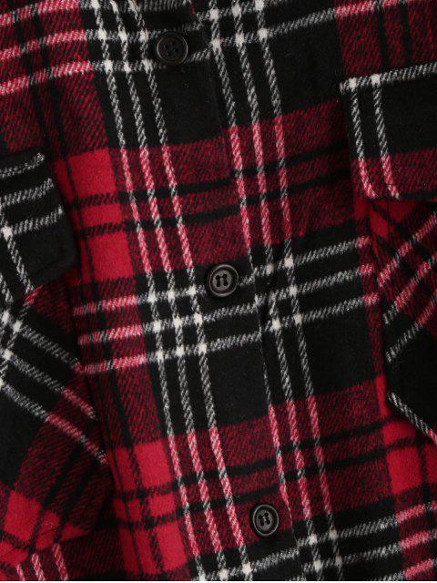 unique Flap Pockets Button Down Plaid Shirt - WHITE L Mobile