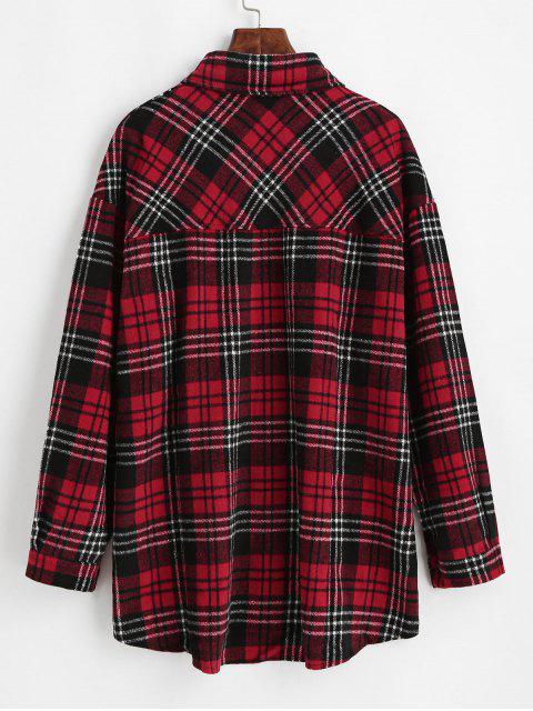 chic Flap Pockets Button Down Plaid Shirt - WHITE S Mobile