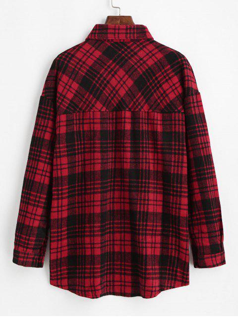 womens Flap Pockets Button Down Plaid Shirt - BLACK L Mobile