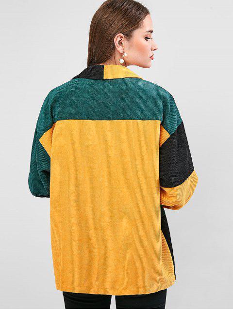 Farbblock Tasche Tunika Jacke - Multi-A M Mobile