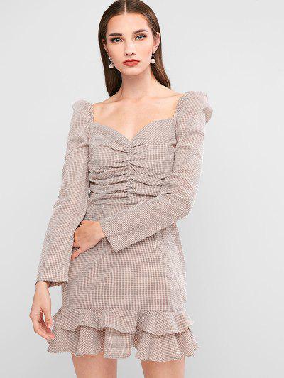 ZAFUL Gingham Ruched Ruffle Milkmaid Dress - Tan Xl