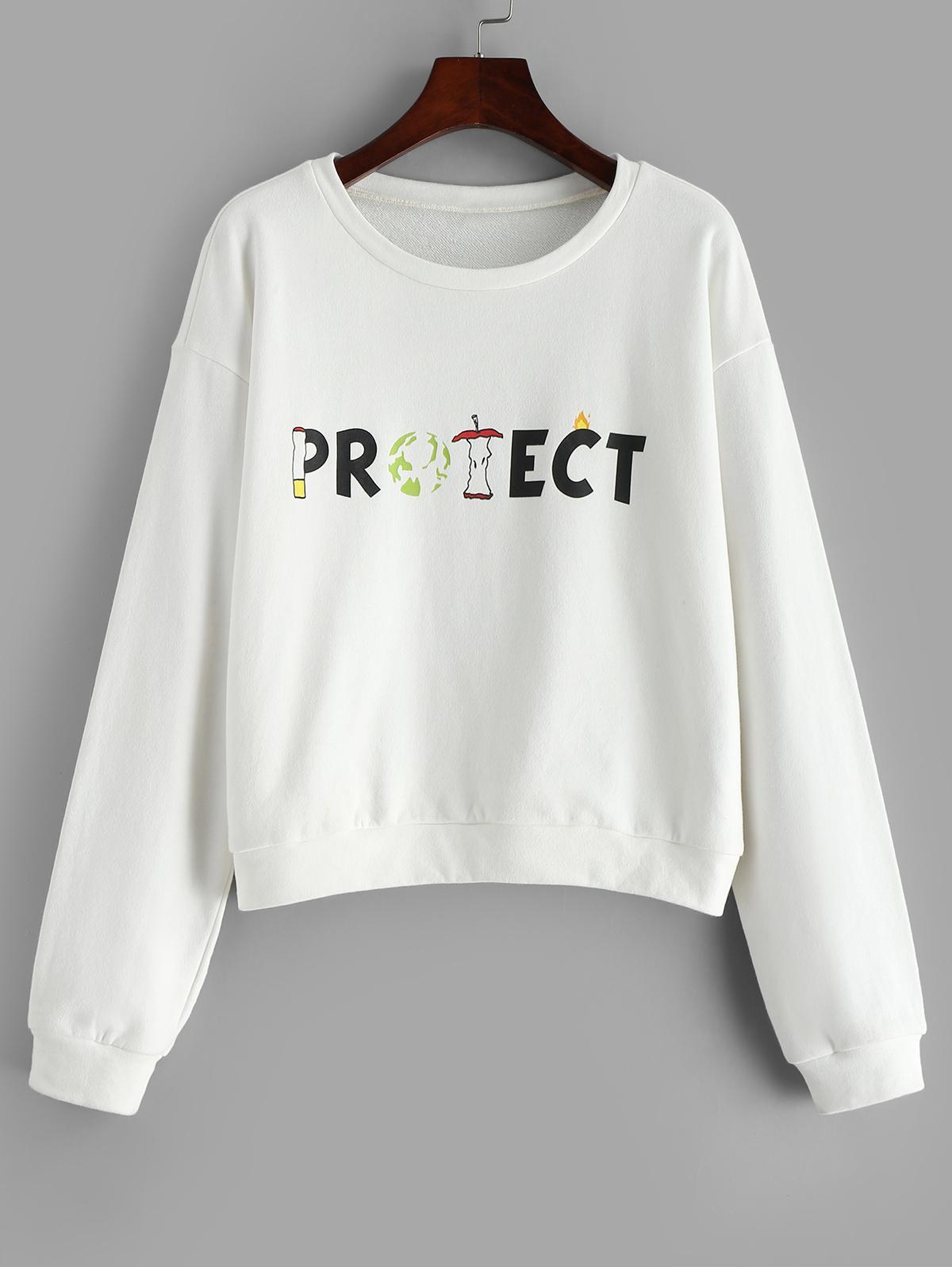 ZAFUL Environmental Protect Slogan Sweatshirt thumbnail
