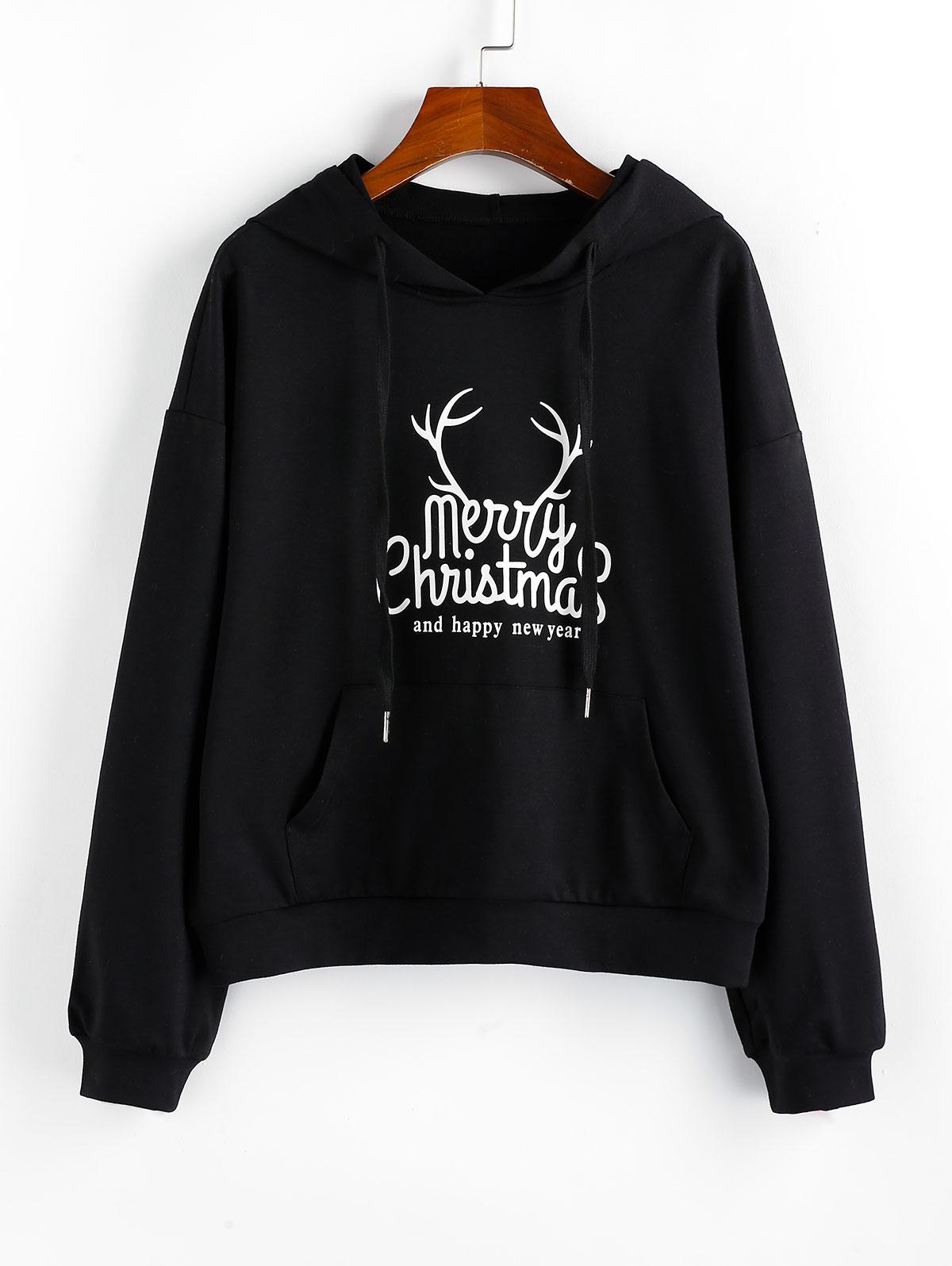 ZAFUL Christmas Graphic Drop Shoulder Front Pocket Hoodie