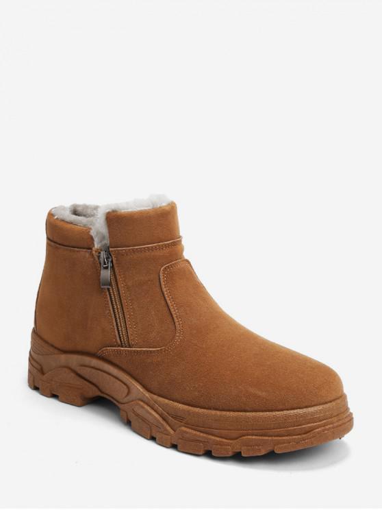 Zipper-Pelz-Einfarbige Schnee-Stiefel - Khaki EU 42