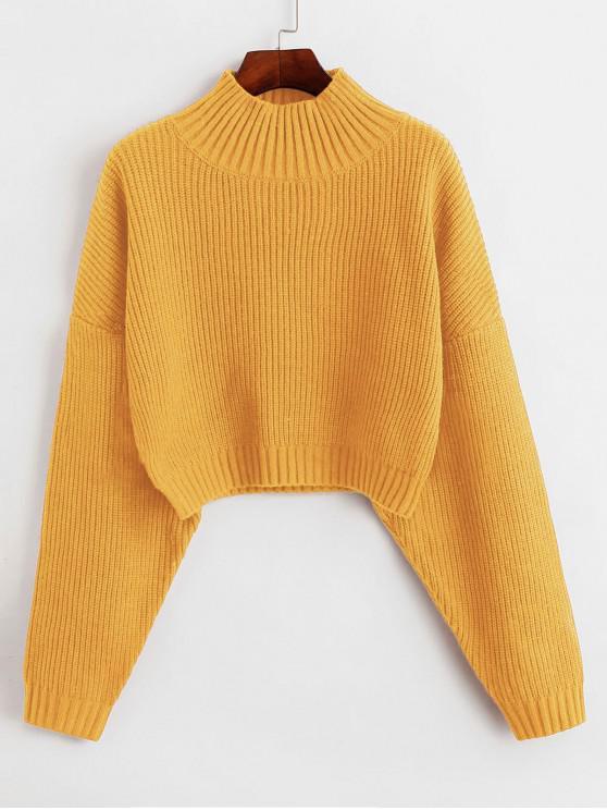 best ZAFUL Drop Shoulder Mock Neck Plain Sweater - YELLOW M