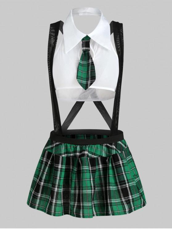 new Plaid Suspender Schoolgirl Lingerie Costume - MEDIUM SEA GREEN 2XL