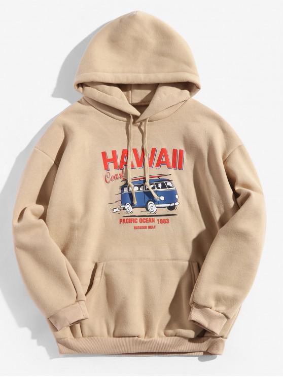 best Hawaii Coast Bus Letter Graphic Fleece Drawstring Hoodie - TAN 2XL