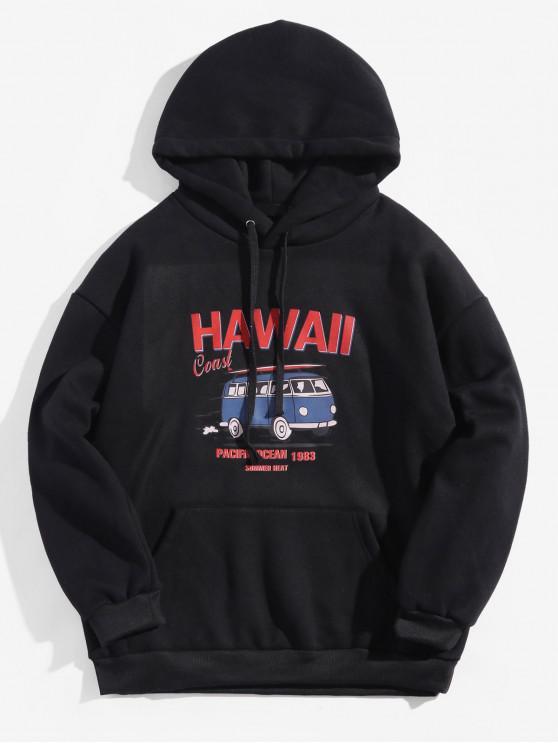 Carta de la costa de Hawaii autobús Gráfico Fleece con capucha con cordón - Negro S