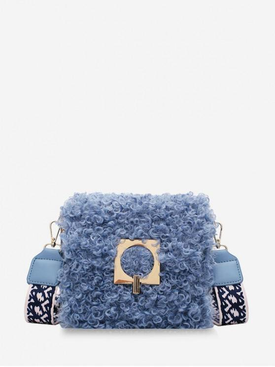 new Faux Fur Wide Strap Square Crossbody Bag - AZURE