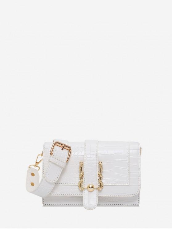 sale Simple Square Embossed Shoulder Bag - WHITE