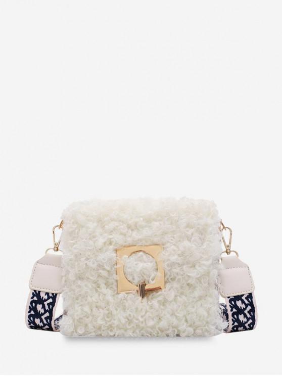 womens Faux Fur Wide Strap Square Crossbody Bag - WHITE