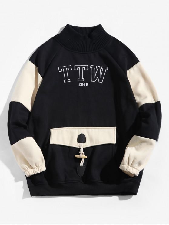 Colorblock Spliced Brief Raglanärmeln Fleece-Sweatshirt - Schwarz L