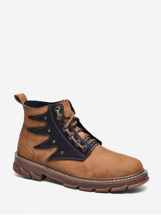 Ankle Boots PU Lace Up retalhos - Castanho UE 42