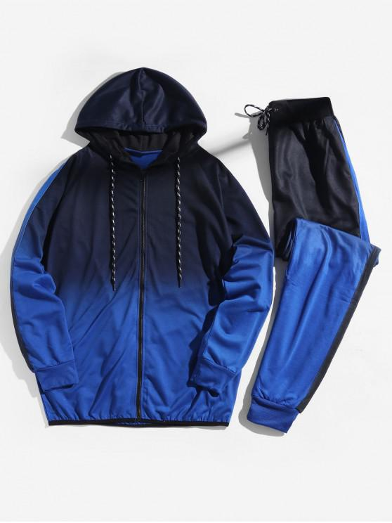 ladies Ombre Print Sport Hooded Jacket and Jogger Pants Suits - BLUEBERRY BLUE 3XL