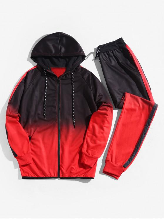 hot Ombre Print Sport Hooded Jacket and Jogger Pants Suits - LAVA RED XL