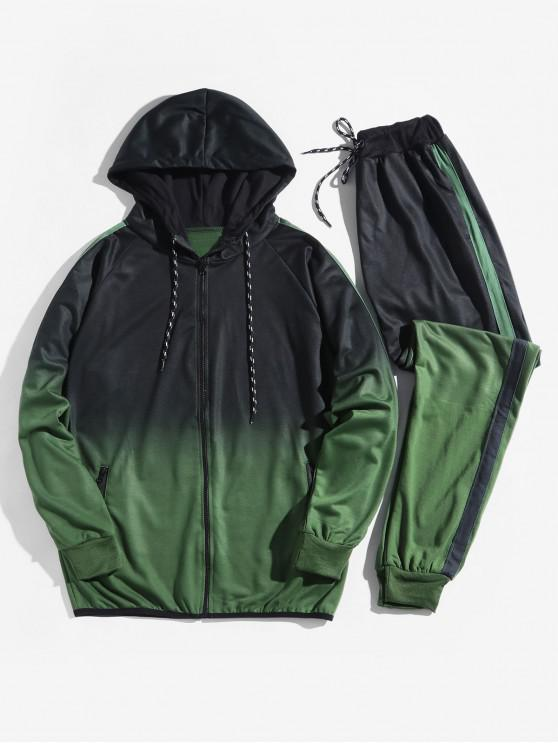 latest Ombre Print Sport Hooded Jacket and Jogger Pants Suits - SEA GREEN L