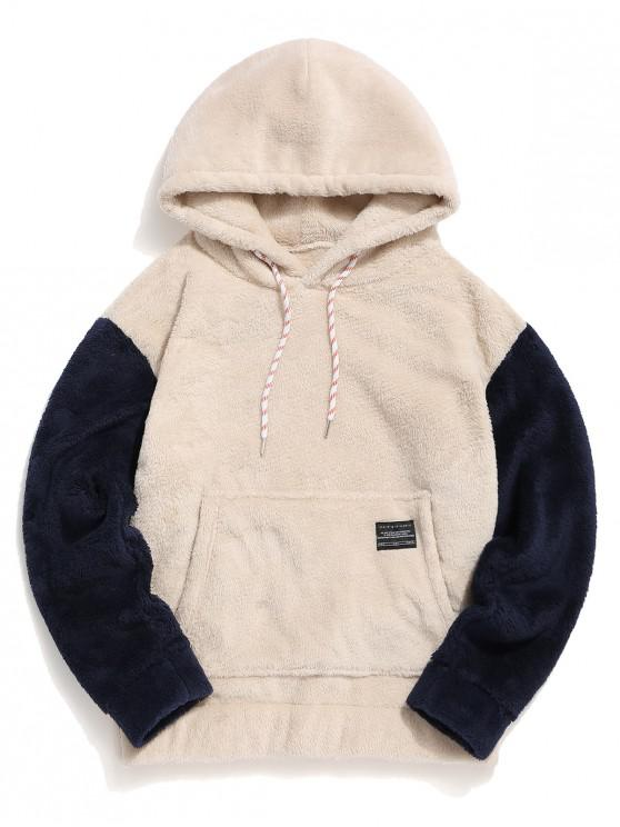 fashion Color-blocking Pouch Pocket Fluffy Hoodie - WARM WHITE S