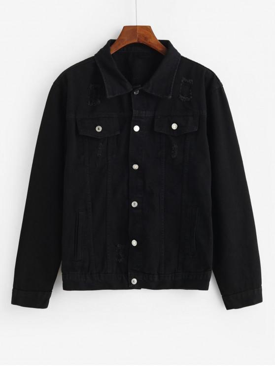 shop Solid Flap Pocket Ripped Cargo Jean Jacket - BLACK M