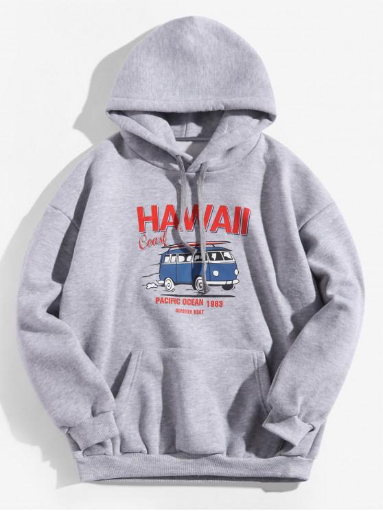 shops Hawaii Coast Bus Letter Graphic Fleece Drawstring Hoodie - GRAY CLOUD 2XL