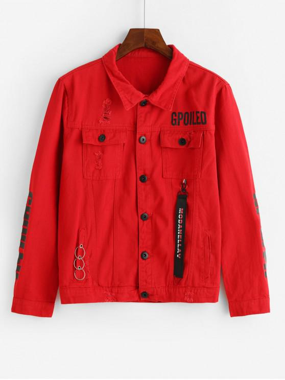 women Letter Graphic Print Flap Pocket Ripped Cargo Jacket - RED XS
