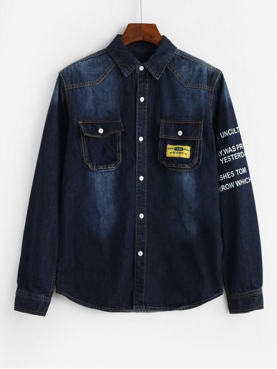fancy Letter Graphic Applique Flap Pocket Shirt Jacket - DEEP BLUE XS