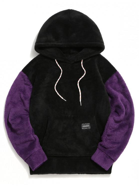 womens Color-blocking Pouch Pocket Fluffy Hoodie - BLACK 2XL