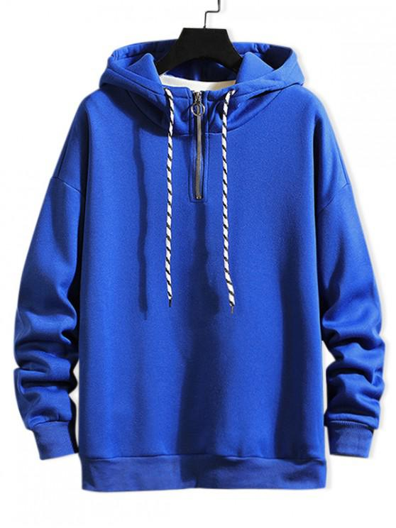 women Solid Ring Vent Zip Drawstring Fleece Hoodie - COBALT BLUE L