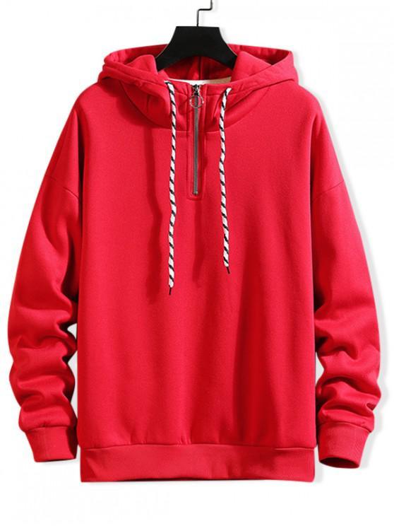 hot Solid Ring Vent Zip Drawstring Fleece Hoodie - LAVA RED 2XL
