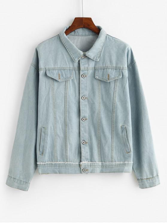 Patchwork Stitching Faux Klappen-Tasche Jeansjacke - Blau XL