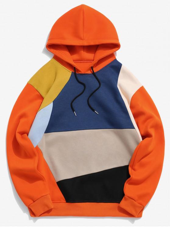 Colorblock Spliced Drawatring VliesHoodie - Orange L