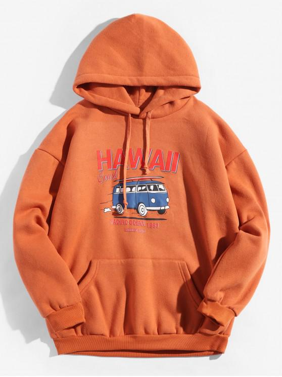 women's Hawaii Coast Bus Letter Graphic Fleece Drawstring Hoodie - SUNRISE ORANGE S