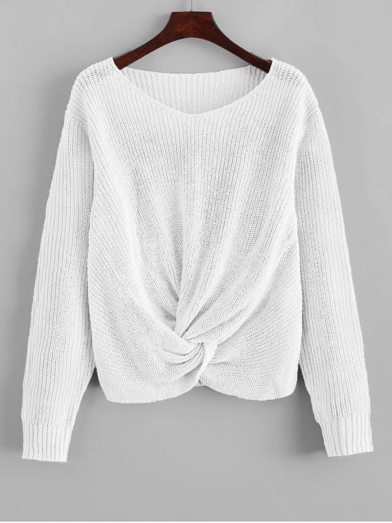 Pullover torcedura Hem cuello en V suéter - Blanco XL