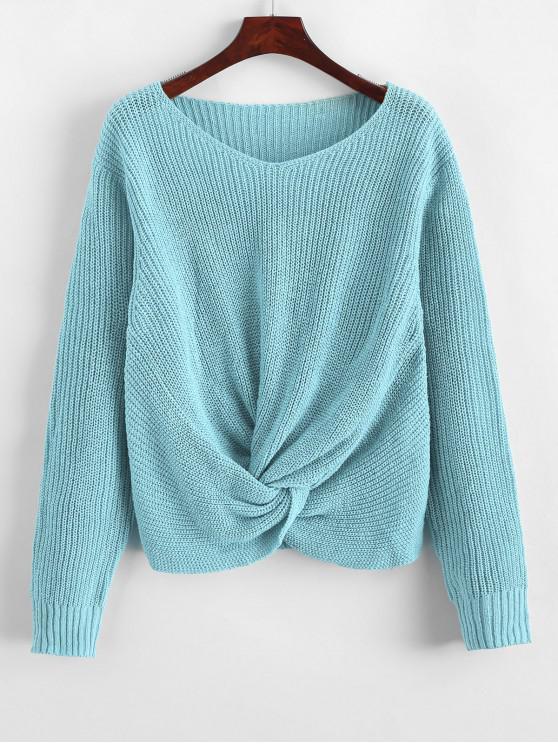 hot Pullover Twist Hem V Neck Sweater - DAY SKY BLUE S