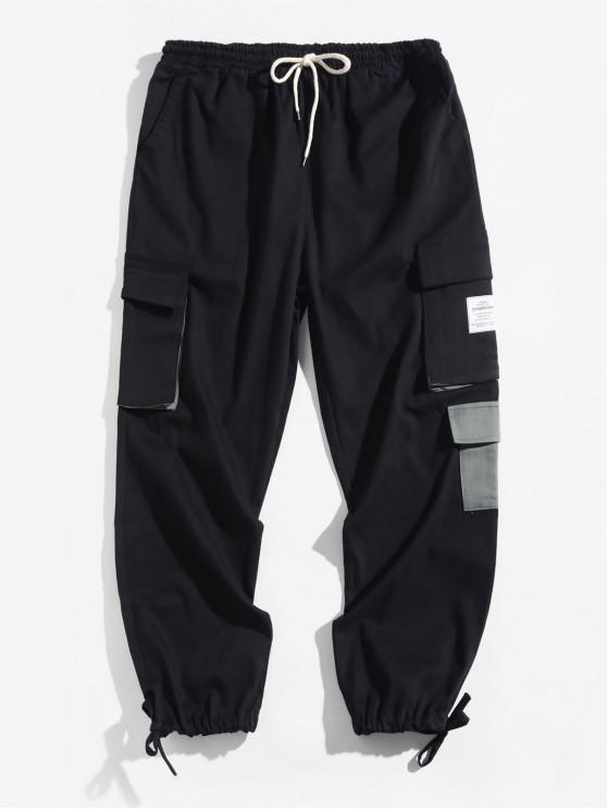 fashion Letter Pattern Pocket Decorated Jogger Pants - BLACK XS