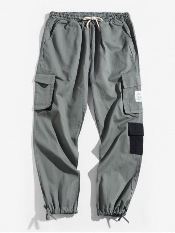 unique Letter Pattern Pocket Decorated Jogger Pants - ARMY GREEN XS