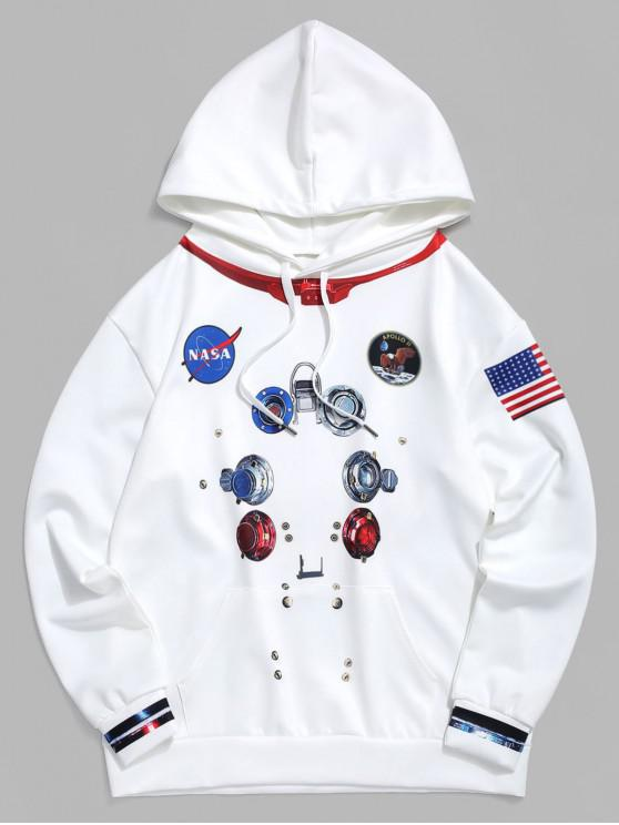 affordable American Flag Graphic Printed Hoodie - WHITE 4XL