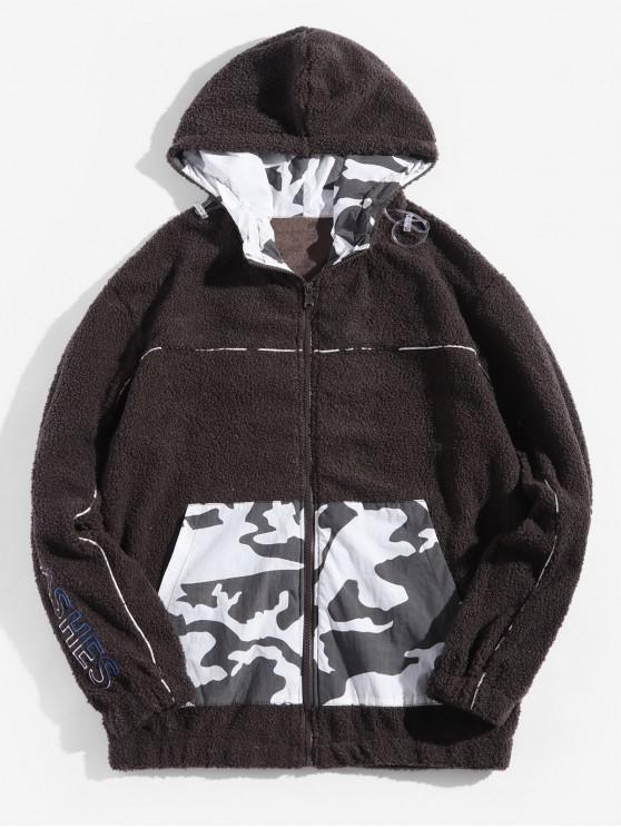 online Camouflage Spliced Letter Faux Fur Hooded Jacket - BLACK XS