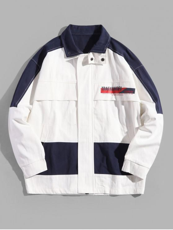 online Colorblocking Splicing Letter Graphic Jacket - WHITE 2XL