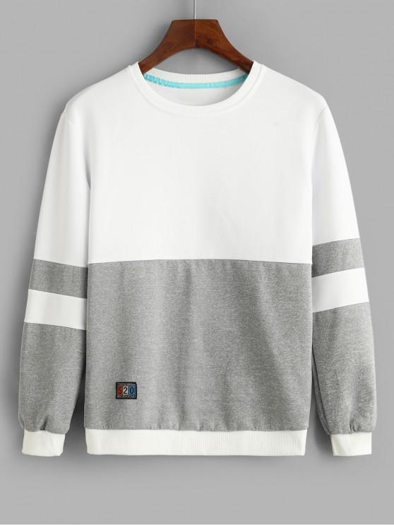 fashion Color Blocking Splicing Applique Sweatshirt - GRAY S