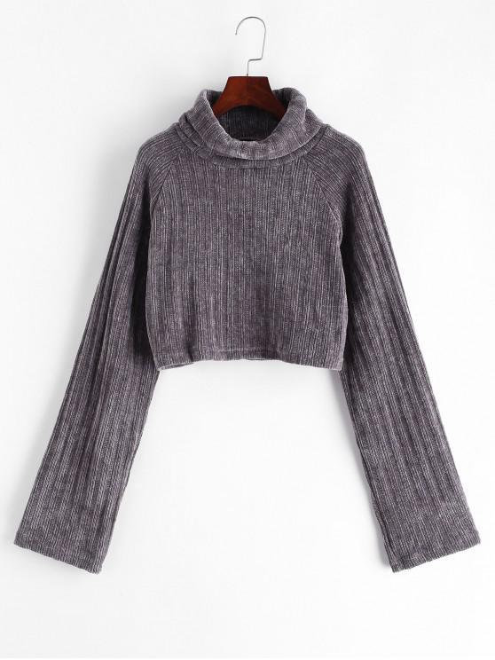 Suéter de cultivos chenilla cuello alto manga raglán - Gris M