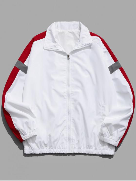 sale Colorblock Splicing Raglan Sleeve Jacket - WHITE L