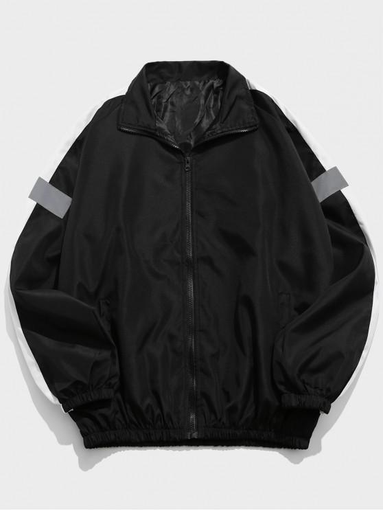women Colorblock Splicing Raglan Sleeve Jacket - BLACK L