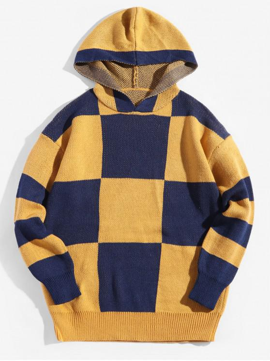 unique Colorblock Checkered Drop Shoulder Hooded Sweater - BRIGHT YELLOW L