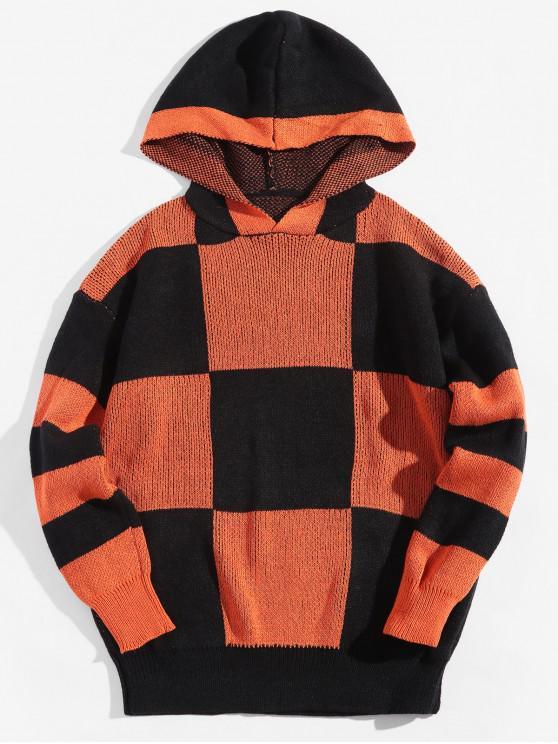 unique Colorblock Checkered Drop Shoulder Hooded Sweater - PAPAYA ORANGE 2XL